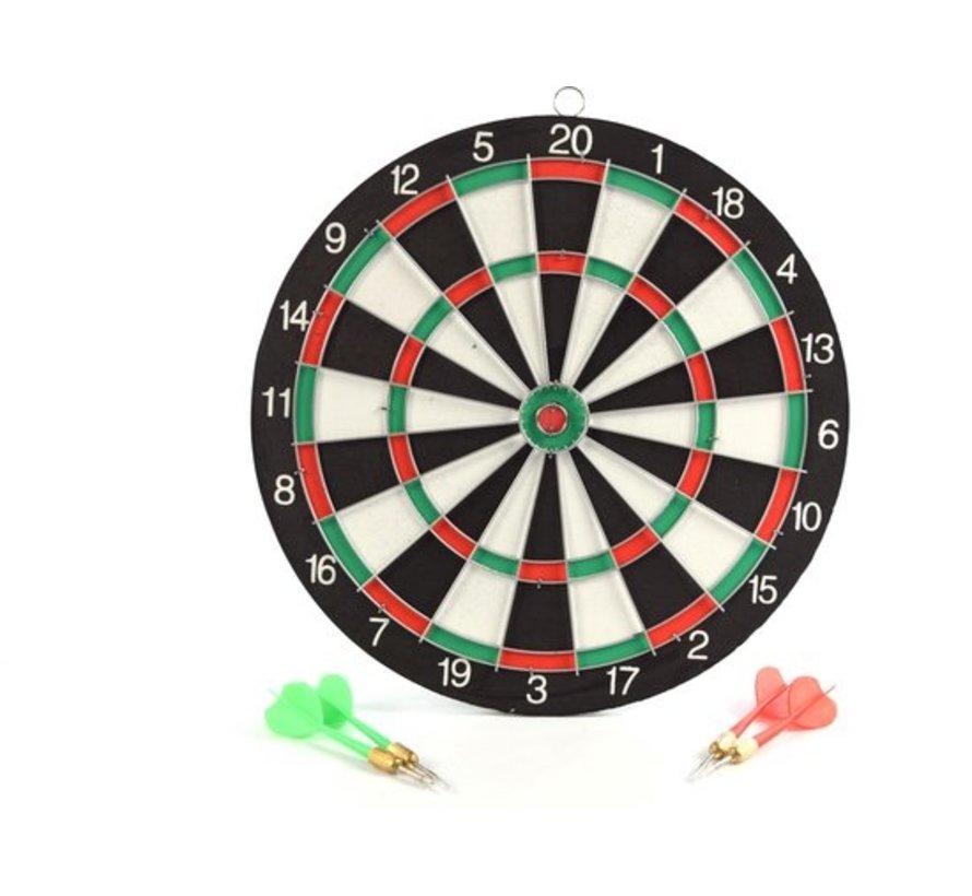 Dartbord - 28 cm - tweezijdig - met 4darts