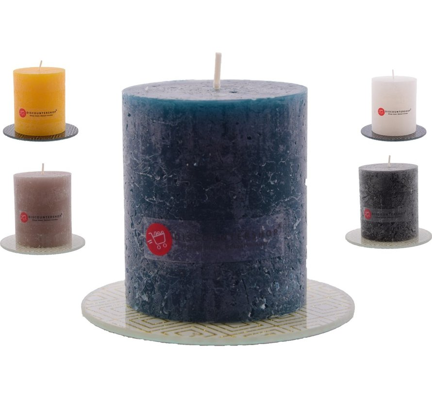 Candle rustic candle Includes| Pillar candle 8 x 7 cm| Navy - 30 burning hours