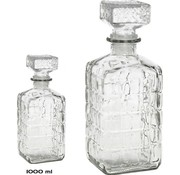 Merkloos 2 Pieces glass whiskey/water decanter 1000ml - crystal - 2x Kristallglas look whiskey bottle - Whiskey decanter/whiskey bottle with structure in glass
