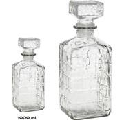 Merkloos 2 Stuks glazen whisky/water karaffen 1000ml - kristal - 2x Kristalglas look whiskey fles - Whiskykaraf/whiskyfles met structuur in glas