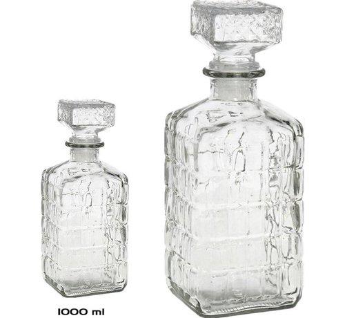 Merkloos 2 Stuks glazen whisky 1000ml - kristal 2x Kristalglas look whiskey fles Whiskykaraf/whiskyfles met structuur in glas