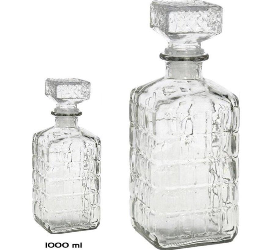 2 Stuks glazen whisky 1000ml - kristal 2x Kristalglas look whiskey fles Whiskykaraf/whiskyfles met structuur in glas