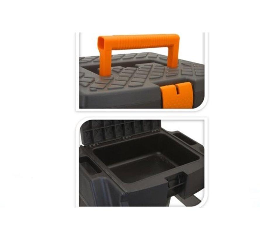 Opstap kruk / gereedschap kruk met opbergvak en handgreep 47x41x42cm