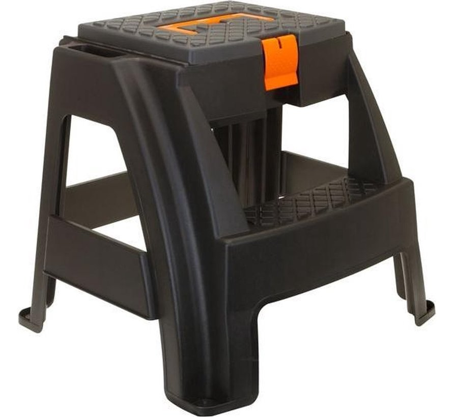 Step stool / tool stool with storage compartment and handle 47x41x42cm