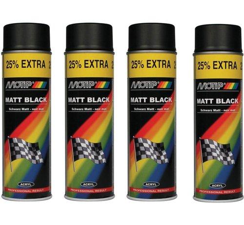 Motip Motip verf 4 stuks spuitverf Mat zwart sneldrogend 500 mL voor metaal , hout, aluminium en steen - 25 % EXTRA