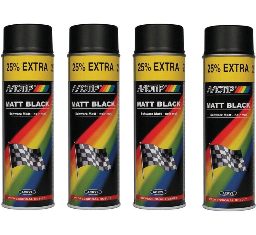 Motip verf 4 stuks spuitverf Mat zwart sneldrogend 500 mL voor metaal , hout, aluminium en steen - 25 % EXTRA