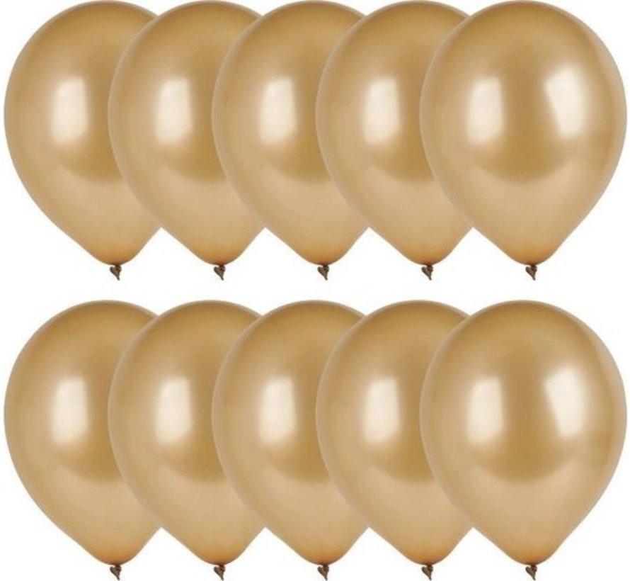 10x Gouden ballonnen - 27 cm - ballon goud voor helium of lucht