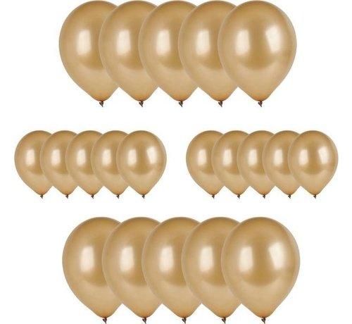 Merkloos 20x Gouden ballonnen - 27 cm - ballon goud voor helium of lucht