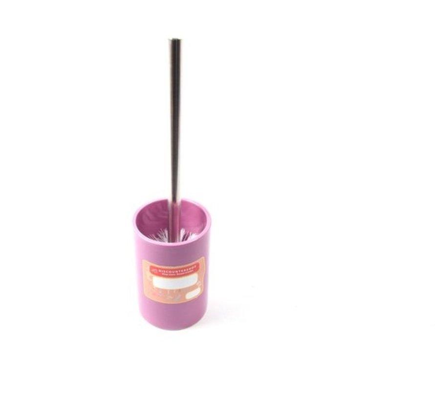 Toiletborstel met houder keramiek Toiletborstel 37 cm - keramiek - RVS Paars 2-delig