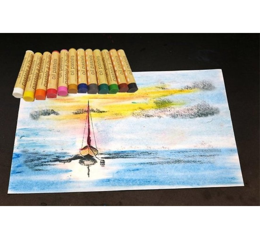 Crafter's set of 12 color crayons pastels oil pastels