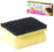 Merkloos 3x stuks schuursponzen / schuursponsjes met handgreep - 9 x 6.5 cm - sponzen / schoonmaakartikelen / reinigingsartikelen