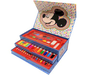 Disney Micky Mouse Disney Mickey mouse Kleurset 42-delig Disney Kleurdoos met lade - Mickey mouse kleurpotloden - waterkleuren Micky mouse - Stiftenkleur - Stiften - 42 onderdelen