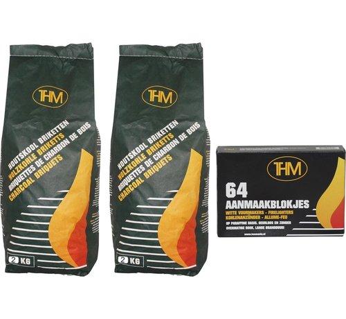THM 2X houtskoolbriketten inclusief aanmaakblokjes 64 Stuks