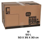 Merkloos Verhuisdoos - 10 stuks - 50 liter - Professioneel, Stevig Verhuisdozen en stevig 50 x 35 x 30 cm - Medium