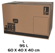 Merkloos Moving box - 10 pieces - 95 liters - Professional, self-closing and sturdy 60 x 40 x 40 cm - Large