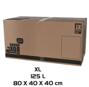 Merkloos Moving box - 10 pieces - 125 liters - Professional, self-closing and sturdy 80 x 40 x 40 cm - XLarge