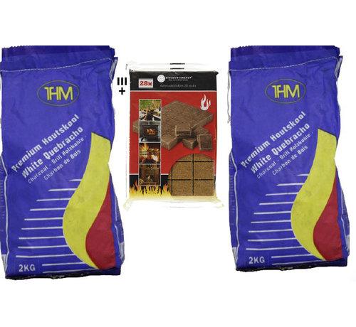 THM 2X houtskool van 2KG - Voor De BBQ - inclusief Aanmaakblokjes - Barbecue - Houtskool