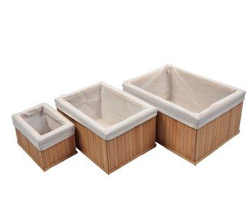 Merkloos Bamboe manden 3 stuks | Multifunctionele mand | Opbergmanden | Opberg | opberger Box |Doos |Mand/Vakken - Opbergsysteem