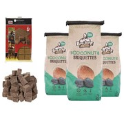 Merkloos 3x barbecue charcoal - 3kg - coconut briquettes + 28x firelighters Sustainable - high quality - coconut husks