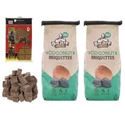 Merkloos 2x barbecue charcoal - 3kg - coconut briquettes + 28x firelighters Sustainable - high quality - coconut husks -
