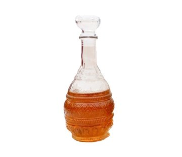 Merkloos Glazen whiskey/water karaffe 1000ml - kristal - Kristalglas look whiskey fles - Whiskeykaraf/whiskyfles met structuur in glas