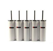 Merkloos Set van 5x Wit Toiletborstel & Houder - Roestvrijstalen Toiletborstelhouder met Toiletborstel - 45x12cm - Mat Wit