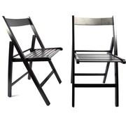 Merkloos 2 Stuks Klapstoel Luxe Tuinstoel Zwart | opklapbare | Klapstoel |houten tuinstoelen 38 X 42 X 87 Cm Hout - Stoel -