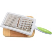 Merkloos Grater With Drip Tray   Grater with drip tray   Handy   stainless steel   Cheese grater  Green/white 12x6x33