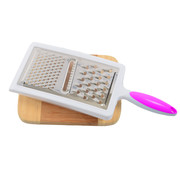 Merkloos Grater With Drip Tray   Grater with drip tray   Handy   Kitchen   stainless steel   Cheese grater  Purple/white 12x6x33