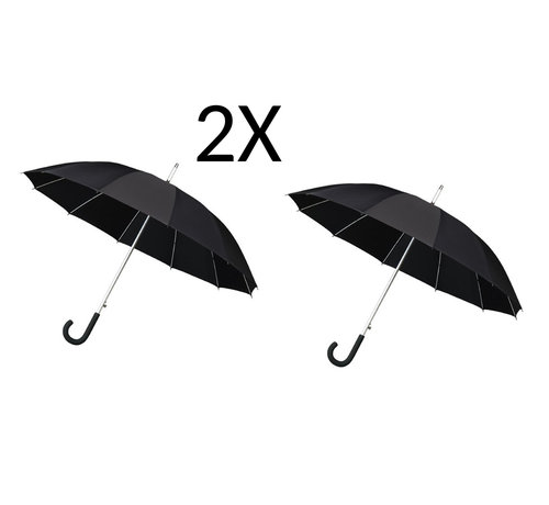 Merkloos 2x Paraplu - Automatic windparaplu - Stevig & Windroof - Windproof - Ø 110 cm - Zwart- Top Kwaliteit - Beste kwaliteit