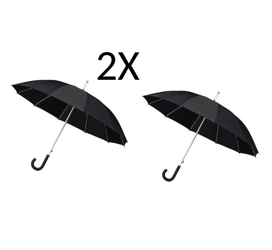 2x Paraplu - Automatic windparaplu - Stevig & Windroof - Windproof - Ø 110 cm - Zwart- Top Kwaliteit - Beste kwaliteit