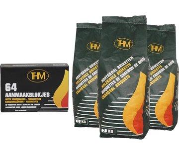THM 3X houtskoolbriketten van 2 KG inclusief aanmaakblokjes 64 Stuks - Barbecue - BBQ - 3 Stuks