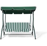 Discountershop Schommelbank tuin groen tweezit met zonnescherm - Schommelbank - Groen-Wit - 140X110X153CM
