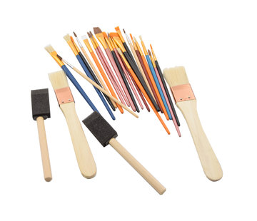 Discountershop Spons Schilderskwast - Painting Brush Set - Schilderen verf kwasten 25 stuks- 2 x foambrush DIY
