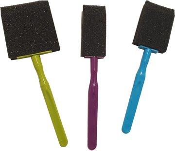 Discountershop Spons Schilderkwast - Painting Brush Set - Schilderen verf kwasten 3 stuks- 3 x foambrush DIY