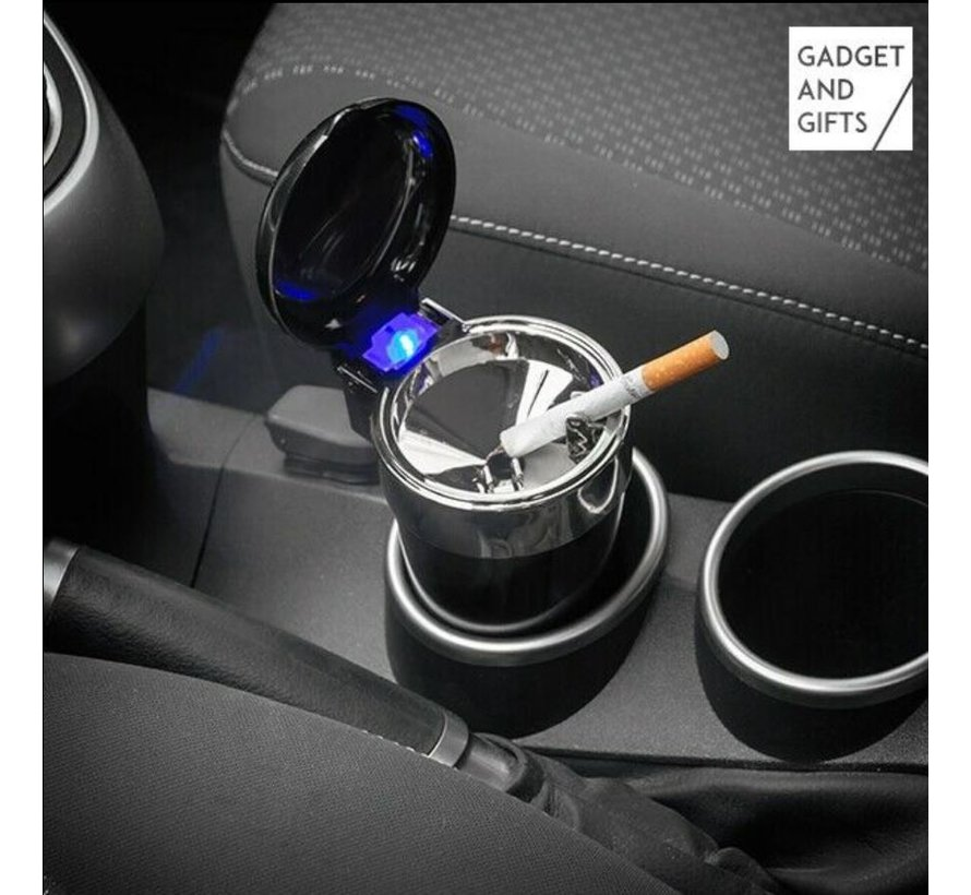 "Auto asbak / Geurloze Auto Asbak / Met led verlichting / incl""GRATIS BATTERIJ"" Zwart - Auto asbak zwart"