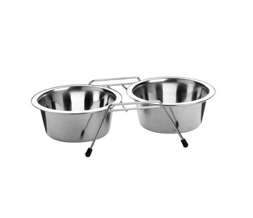 Merkloos Voerbak hond - voerbak Eet- en Drinkbak Duo - Hondenvoerbak - Staal - Hondenvoerbakjes ≈ 16 cm diameter per bak