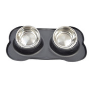 Discountershop Double Dog Food Bowl Stainless Steel 46x27x4 cm - Pet Drinking Bowl set with Silicone Placemat
