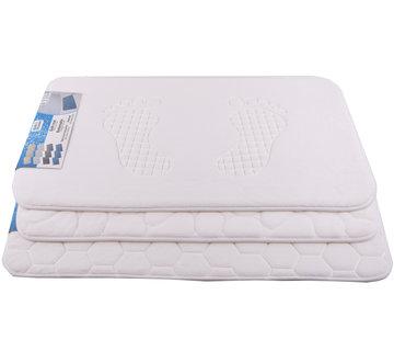 Discountershop Badmat & WC Mat Set -Douche mat set - Wit - 60 x40 cm - badmat set 3-delig - Soft Foam - Extra Zacht - FOAM