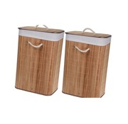 Merkloos 2x Brown bamboo laundry baskets 65 liters - Laundry baskets / laundry baskets - Household products / articles - Household