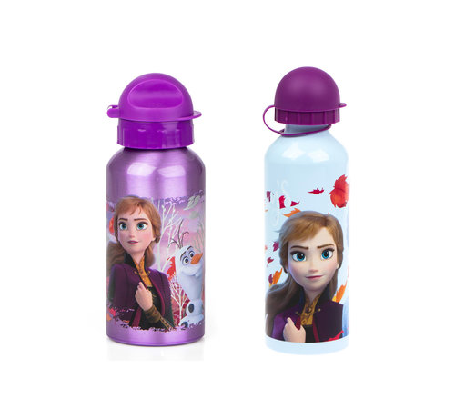 Disney Frozen Disney Frozen Kinderdrinkfles veiligheidssluiting 2 stuks- per fles 500 ML - Drinkbeker - Frozen Disney aluminium fles