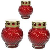 Discountershop 3 stuks Herdenkingskaars - Kaars - Witte kaars kopen - Herdenkingskaarsen - Glas - Witte kaars in glas - Kaarshouder - Herdenkingskaarsje - Hartje - Rood -  kaars -kaarsen