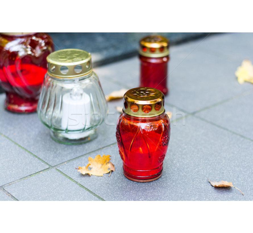 2 stuks Herdenkingskaars - Kaars - Witte kaars kopen - Herdenkingskaarsen - Glas - Witte kaars in glas - Kaarshouder