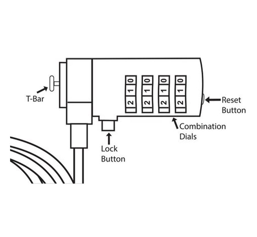 2 Stuks Premium Anti-diefstal Computerbeveiligingskabel met Cijferslot Ketting Slot voor Laptop en Desktop Kettingslot