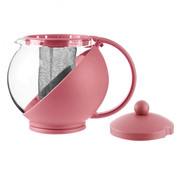 Discountershop Teapot with filter - teapot glass - Teapot with stainless steel Filter - 1.25 L - Coffee maker Pink - Cafetiere glass for coffee or tea 600ml - Coffee and tea maker 1250 ml