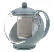 Discountershop Teapot with filter - teapot glass - Teapot with stainless steel Filter - 1.25 L - Coffee maker Khaki - Cafetiere glass for coffee or tea 600ml - Coffee and tea maker 1250 ml