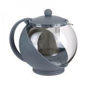 Discountershop Teapot with filter - teapot glass - Teapot with stainless steel Filter - 1.25 L - Coffee maker Blue - Cafetière glass for coffee or tea 600ml - Coffee and tea maker 1250 ml