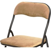 Discountershop Folding chair- Folding chair velvet seat and back covered - chair - table chair - folding chair - Ocher - chair - table chair - folding chair - Velvet folding chair - Luxury folding chair - With cushions - Chair - Chairs - Folding chairs - Chair - Premium