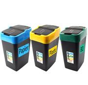 Heidrun Set van 3 sorteervuilbakken- schommeldeksel -afvalscheidingsbakken - sorteer prullenbak - afvalemmer - 3-delig - Zwart - 60L -XL