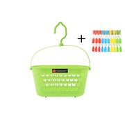 Merkloos Wasknijpermandje + Wasknijpers 30 Stuks - Wasknijperbakje - Wasknijperzakje - Wasknijper mandje - Wasknijpers plastic voor Drooglijn